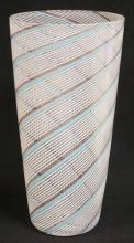 BLOWN ART GLASS VASE WITH SWIRLED BANDS OF WHITE, LIGHT BLUE, AND GOLD. 12 1/2 INCHES TALL.