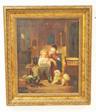 ANTIQUE OIL PAINTING ON CANVAS OF A MOTHER WITH A CHILD AND THEIR DOG. BED TO THE RIGHT HAS THE NAME *HANS PETER* ON IT. PERHAPS THE ARTIST OR THE NAME OF THE CHILD IN THE PAINTING. 14 3/4 X 17 3/4 INCHES.