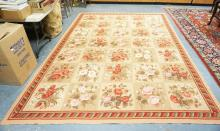 ROOM SIZE NEEDLEPOINT RUG WITH ALL OVER FLORAL PANELS. 11 FT 8 INCH X 8 FT 4 INCHES.
