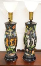 PAIR OF GLASS HURRICANE FOR LAMPS WITH INTERNAL PRINTED DECORATION IN A DECOUPAGE STYLE WITH CLASSICAL FIGURES, FISH, BUTTERFLIES, ETC. 33 1/2 INCHES TALL.