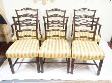 SET OF 6 MAHOGANY SHIELD BACK CHAIRS WITH STRIPED SEATS.