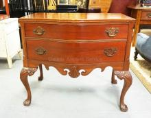 TOMLINSON OF HIGH POINT LOWBOY WITH CHIPENDALE STYLE HARDWARE AND CARVING. 35 1/2 INCHES WIDE. 32 1/2 INCHES HIGH.