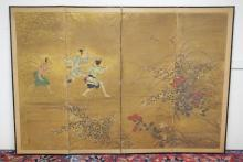 JAPANESE FOUR PANEL SCREEN IN INK, COLOR, AND GOLD POWDER. FIGURES AMONGST WILD FLOWERS. SIGNED LOWER LEFT. 99 INCHES LONG. 68 1/2 INCHES TALL. 19TH C. LEFT PANEL IS DETACHED. HAS SOME TEARS, LOSSES & SOILING.