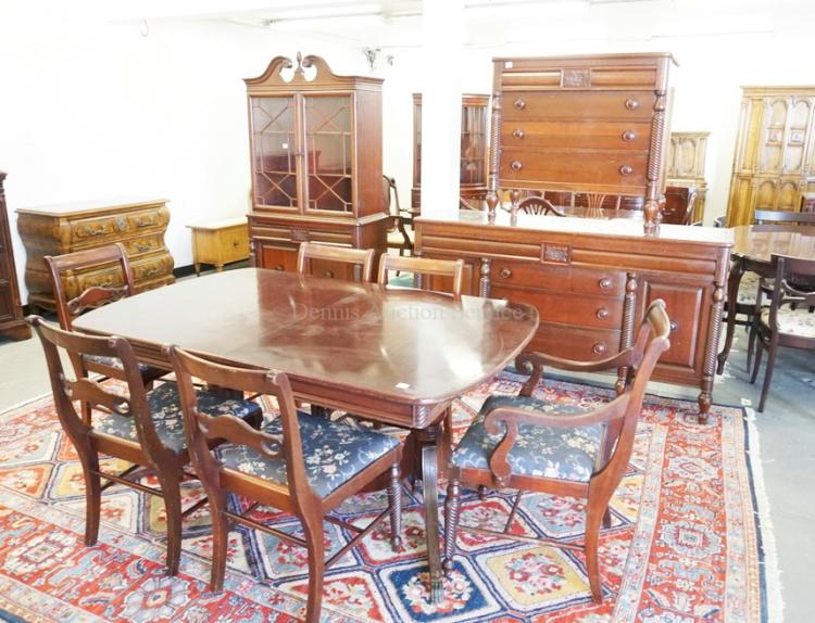 10 piece mahogany dining room set china cabinet table with for 10 piece dining room table sets
