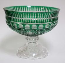GREEN CUT TO CLEAR LARGE COMPOTE W/ CRYSTAL BASE. 11 IN DIA, 9 1/2 IN H