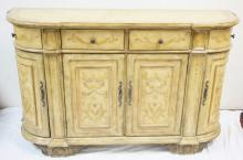 PAINT DECORATED DEMILUNE CREDENZA. 4 DOORS AND 4 DRAWERS. SIDE DRAWERS SWING OUT. 66 IN WIDE, 40 1/4 IN H, 20 IN DEEP