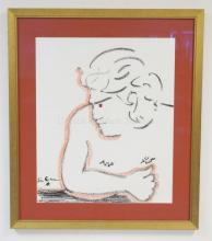 FRAMED PRINT OF A MAN BY JEAN COCTEAU. 21 1/2 IN X 25 3/4 IN