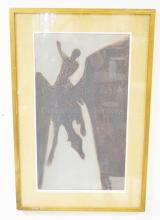 FRAMED LIM ED PRINT BY DEAN MEEKER TITLED PEGASUS. PENCIL SIGNED. NO. 26 OF 50. 16 1/2 IN X 28 1/2 IN