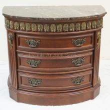 4 DRW DEMILUNE CHEST W/ GRAY MARBLE TOP. 36 1/2 IN WIDE, 31 1/2 IN H