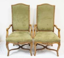 SET OF 4 CARVED HIGH BACK ARM CHAIRS W/ UPHOLSTERED SEATS AND BACKS. 48 IN H, 25 IN WIDE