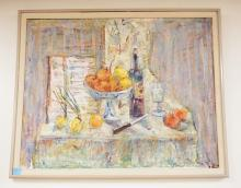OIL ON CANVAS STILL LIFE PAINTING OF FRUIT, WINE, ETC ON A TABLE TOP. 29 3/4 X 23 3/4 INCHES.