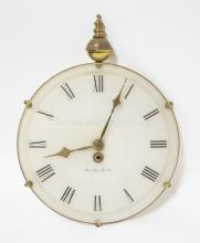 GERMAN POCKET WATCH FORM WALL CLOCK BY HALLMARK ACCESSORIES. MISSING TOP RING. 16 1/2 X 12 1/2 INCHES.