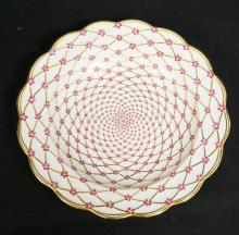 LIMOGES PORCELAIN BOWL FINELY DECORATED WITH SPIRALING FLOWERS & GOLD TRIM. MADE FOR THE MMA. *REPRODUCTION OF A HARD PASTE PORCELAIN PLATE FROM THE PRIVATE SERVICE MADE FOR THE EMPRESS ELIZABETH OF RUSSIA AT ST PETERSBURG ABOUT 1760*10 1/2 INCH DIA.