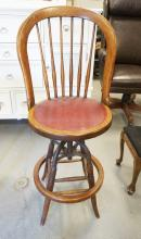 OAK BAR STOOL WITH SWIVEL SEAT. 43 1/2 INCHES TALL.