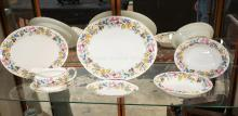 7 PCS OF SHELLEY *SPRING BOUQUET* DINNERWARE. LARGEST PLATTER MEASURES 14 3/4 INCHES.