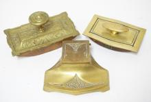 3 BRONZE DESK PIECES. AN INKWELL AND TWO BLOTTERS. ONE HAS A *CROSS, LONDON* METAL TAG.