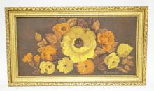 FLORAL STILL LIFE PAINTING ON CANVAS SIGNED LOWER RIGHT *EDWARDS*.17 1/2 X 9 INCHES.