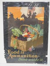 U.S. WAR POSTER. *FOOD IS AMMUNITION* 21 X 29 INCHES. HAS LOSSES.