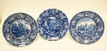 3 HISTORIC BLUE & WHITE PLATES. 2 STAFFORSHIRE AND ONE RIDGWAYS. 10 INCH DIA.