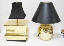 2 BRASS LAMPS WITH BLACK SHADES. 23 INCHES TALL.