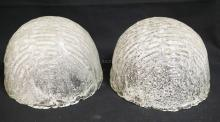 PAIR OF ART GLASS DOME TABLE LAMPS. 7 1/4 INCHES TALL.
