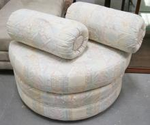UPHOLSTERED DEMI-LUNE BENCH WITH 2 MATCHING TUBULAR PILLOWS. 33 INCHES WIDE.