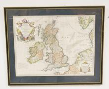 ANTIQUE HAND COLORED ENGRAVED MAP OF *LES ISLES BRITANNIQUES*. 24 3/4 X 19 INCHES.