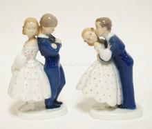 2 BING & GRONDAHL PORCELAIN FIGURES OF A COUPLE. TALLEST IS 7 3/4 INCHES.