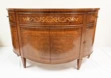 MAHOGANY DEMILUNE CONSOLE CABINET WITH BANDING, INLAY, AND FIGURED WOODS. 55 1/2 INCHES WIDE. 35 1/2 INCHES TALL.