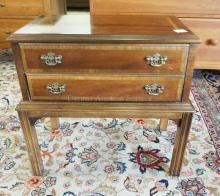 LANE 2 DRAWER CHEST ON HIGH CHIPPENDALE LEGS. 21 INCHES WIDE. 20 1/2 INCHES TALL.
