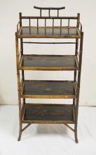CHINOISERIE DECORATED BAMBOO 4 TIER SHELF. 41 INCHES TALL. 18 1/2 INCHES WIDE.