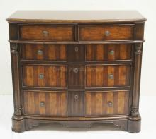 HOOKER FURNITURE FIVE DRAWER STRIPED CHEST WITH HARDWOODS AND CHERRY VENEERS. 43 INCHES WIDE. 38 1/2 INCHES TALL.