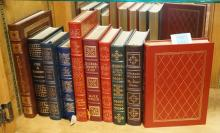 GROUP OF 10 EASTON PRESS LEATHER BOUND BOOKS WITH GOLD GILT EDGES. INCLUDES DICKENS, TWAIN, BRONTE, DOSTOEVSKY, ETC.