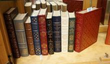 GROUP OF 10 EASTON PRESS LEATHER BOUND BOOKS WITH GOLD GILT EDGES. INCLUDES THOMAS HARDY, DOSTOEVSKY, IVAN TURGENEU, ETC.
