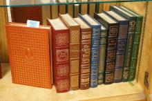GROUP OF 10 EASTON PRESS LEATHER BOUND BOOKS WITH GOLD GILT EDGES.