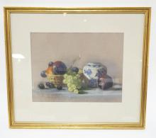 ROZSIKA HETYEI-ASCENZI STILL LIFE PASTEL OF ASSORTED FRUIT AND A GINGER JAR. 13 1/4 X 10 1/4 INCHES.