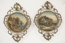 PAIR OF GERMAN POTTERY PLAQUES WITH ORNATE BRASS FRAMES. 11 1/8 X 15 1/2 INCHES.