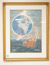 MOSHE DADON PENCIL SIGNED & NUMBERED LITHO OF NOAH'S ARK.#40/250. 17 1/4 X 23 3/4 INCHES.
