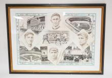 ERIC GREEN LITHO TITLED *BASEBALL 1900-1935*. ARTIST SIGNED AND NUMBERED 837/970. 31 1/2 X 22 1/2 INCHES.