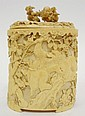 JAPANESE CARVED IVORY BOX; WELL CARVED AND