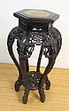 CARVED ORIENTAL STAND W/INSET BROWN MARBLE TOP;
