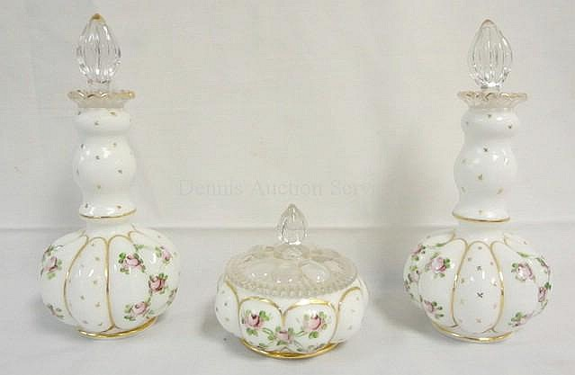 HAND PAINTED FENTON 3 PC MILK GLASS DRESSER SET; 2