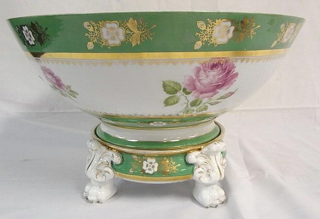 2 PC PORCELAIN PUNCH BOWL MARKED R & A CROWN; SOME