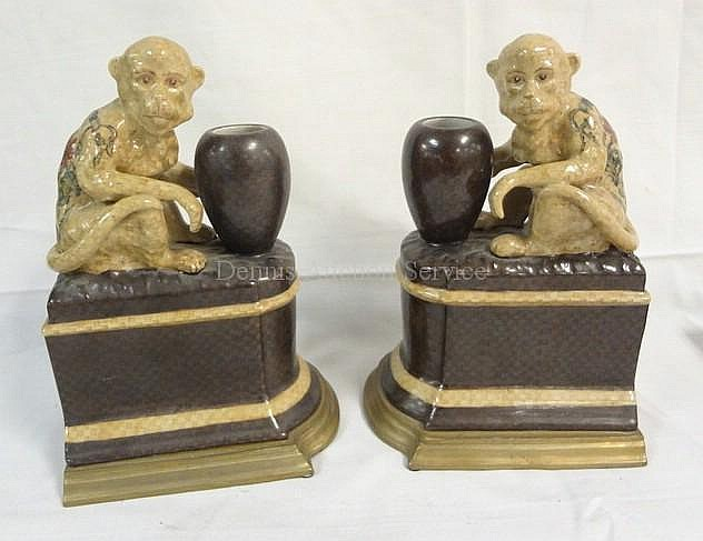 PR OF CASTILIAN MONKEY BOOKENDS (CHINA); 9 IN H