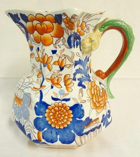 MASON'S GAUDY IRONSTONE PITCHER W/SERPENG HANDLE;