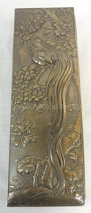 WOOD LINED METAL BOX W/EMBOSSED BIRD OF PARDISE IN