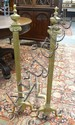 PR OF TALL BRASS SNAKE FOOT ANDIRONS, CORINTHIAN