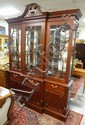 MAHOGANY BREAKFRONT W/MIRROR BACK, GLASS SHELVES &