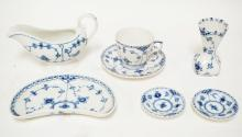 6 PIECES OF ROYAL COPENHAGEN BLUE FLUTED LACE PORCELAIN. TALLEST IS A VASE, 3 3/8 INCHES WITH PIERCED RIM.