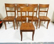 5 MAHOGANY DINING CHAIRS. 38 INCHES TALL.